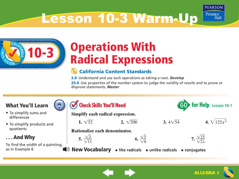1 Lesson 103 Warmup: Operations With Radical Expressions Worksheet At Alzheimers-prions.com