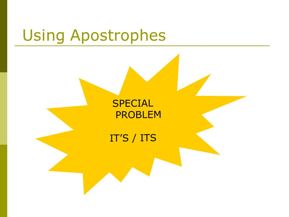 Using Apostrophes SPECIAL PROBLEM IT'S / ITS