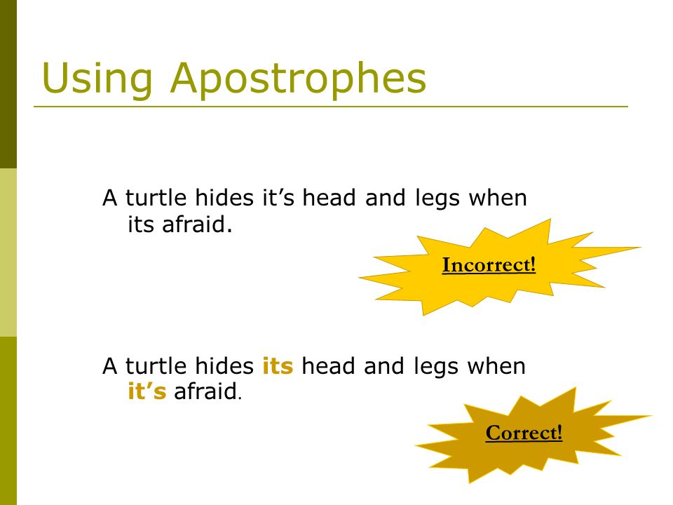 Using Apostrophes A turtle hides it's head and legs when its afraid.