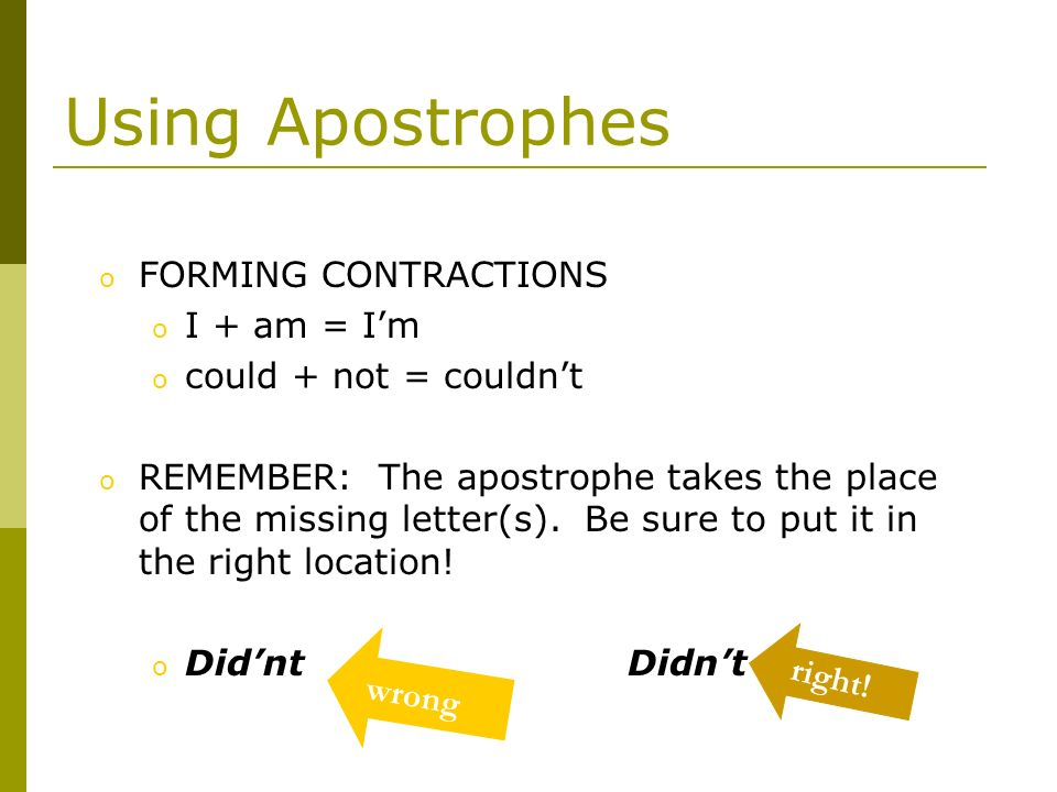Using Apostrophes FORMING CONTRACTIONS I + am = I'm