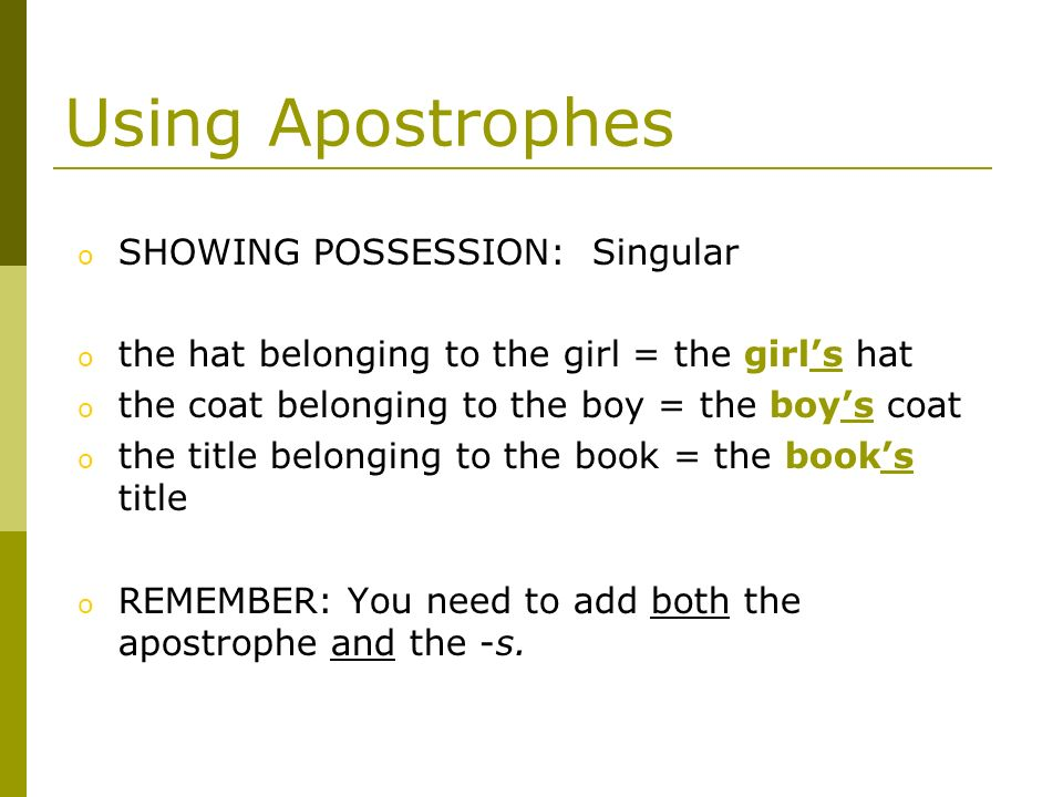 Using Apostrophes SHOWING POSSESSION: Singular