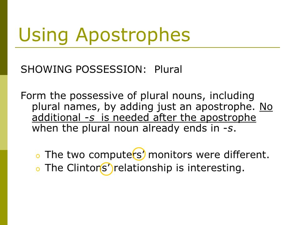 Using Apostrophes SHOWING POSSESSION: Plural