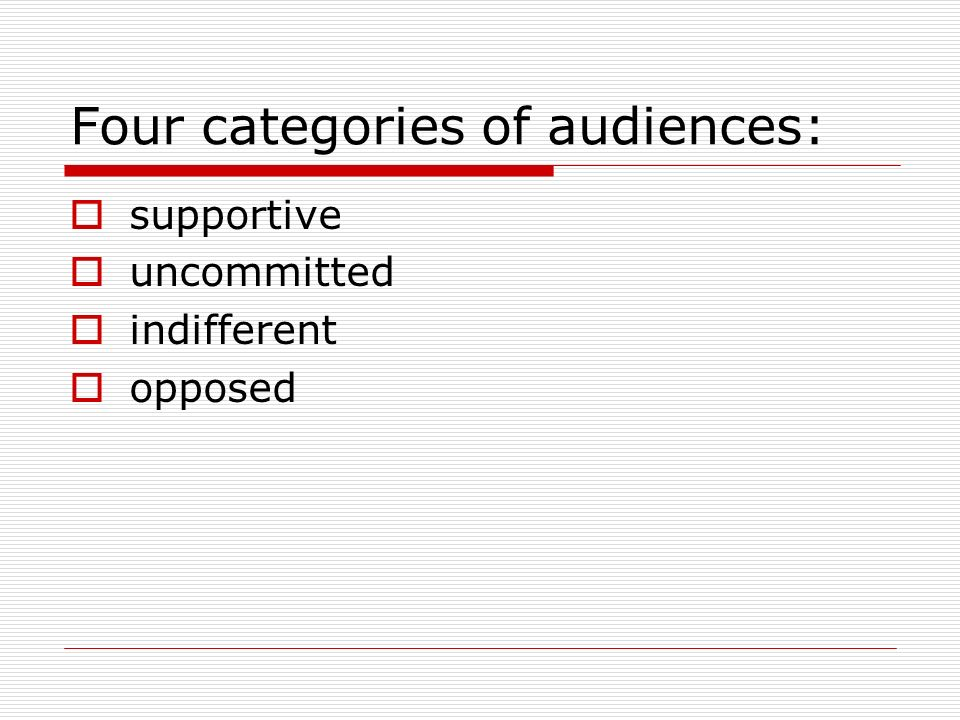 Four categories of audiences: