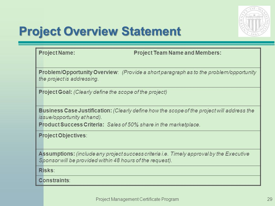 what is a project overview statement Project overview statement project name: xslt library for xmi querying project code: oometer/t/06 problem/opportunity xmi files tend to be complex to manipulate.