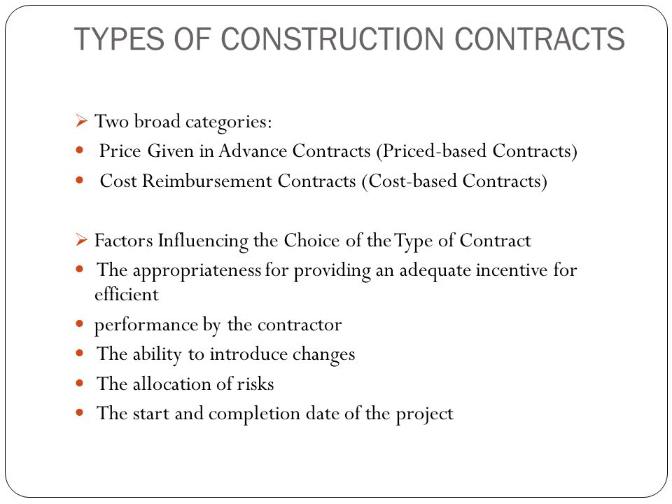 Construction Contract | Types Of Contracts Ppt Video Online Download
