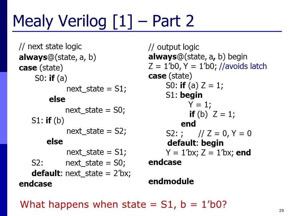 mealy verilog [1] – part 2 what happens when state = s1, b