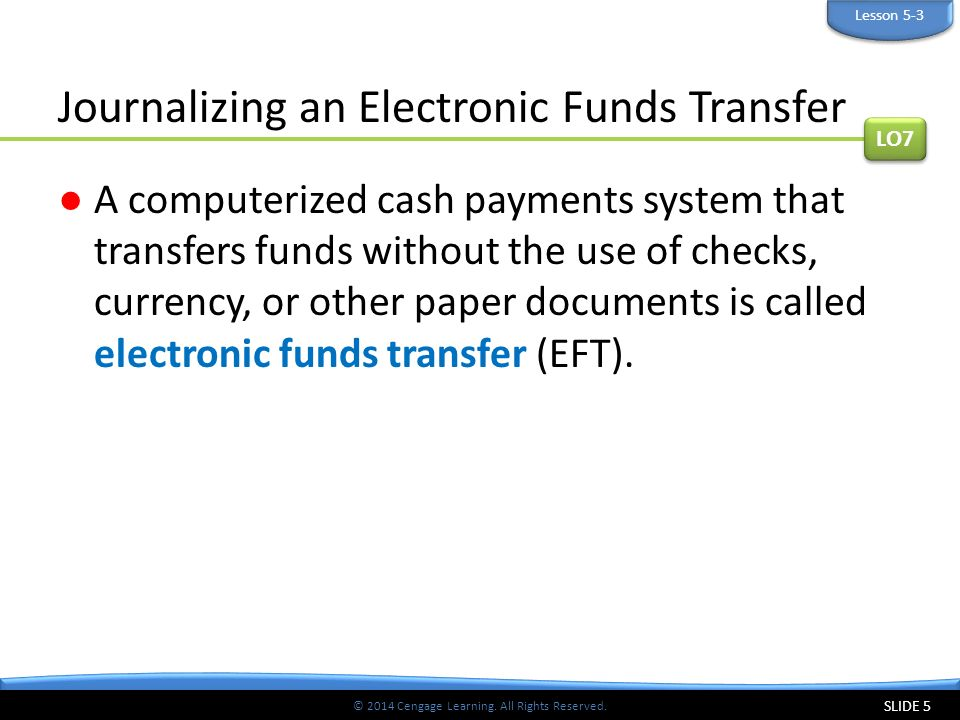 Journalizing an Electronic Funds Transfer