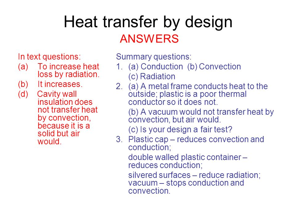 Aqa Gcse 1a1 Heat Transfer Ppt Video Online Download. Heat Transfer By Design Answers. Worksheet. Heat Transfer Conduction Worksheet At Mspartners.co