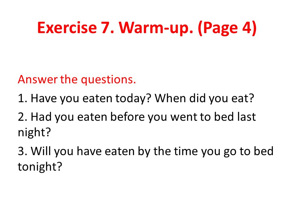 Exercise 7. Warm-up. (Page 4)