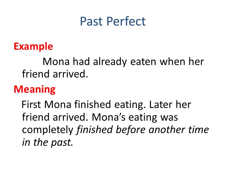 Past Perfect Mona had already eaten when her friend arrived. Meaning