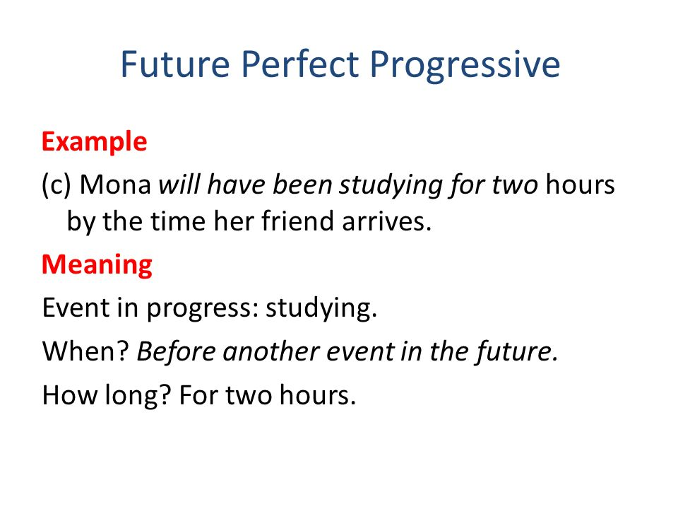 Future Perfect Progressive