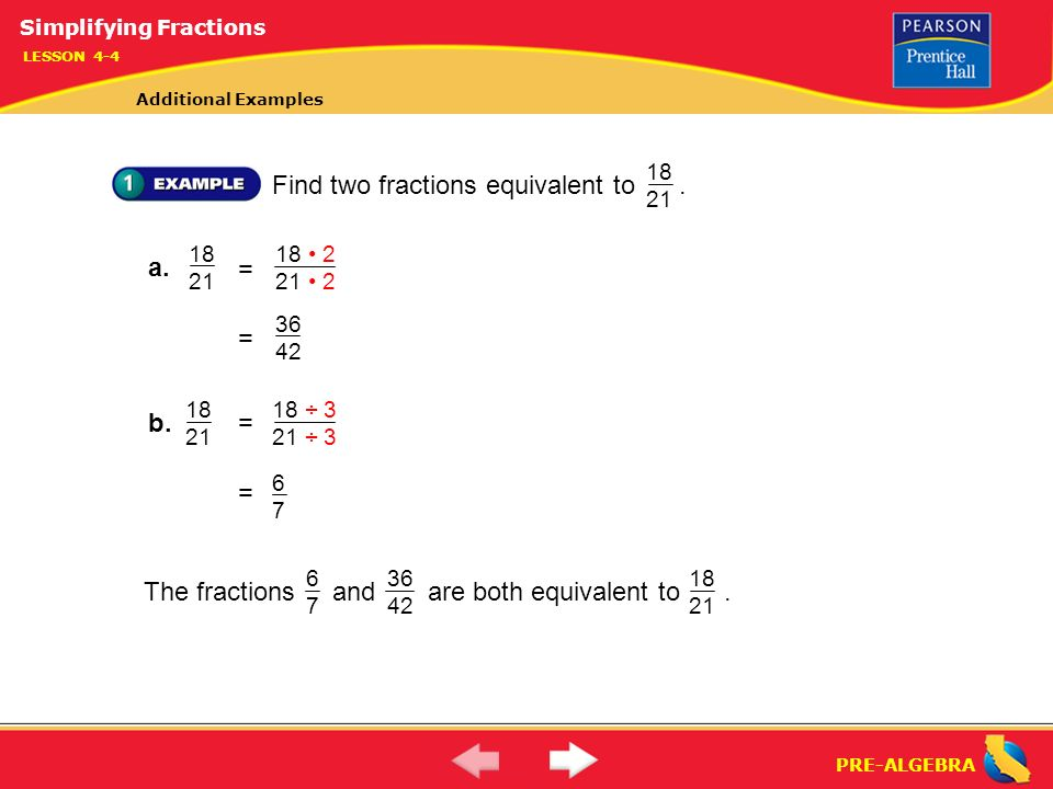 simplest form 7/21  Simplifying Fractions (7-7) - ppt download