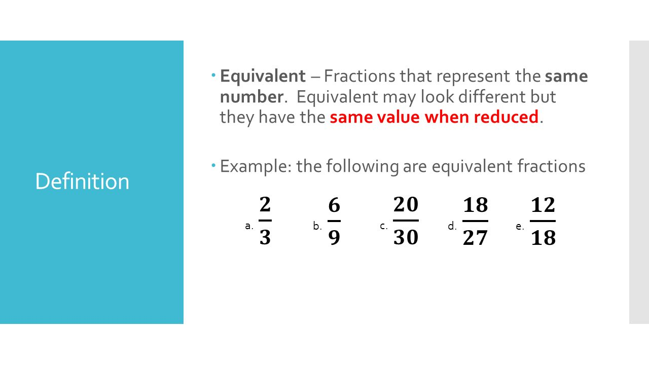 Equivalent Fractions Definition