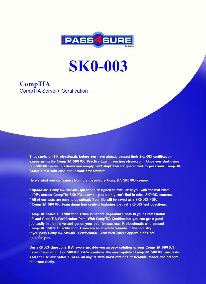 Sk0 003 Comptia Comptia Server Certification Ppt Download