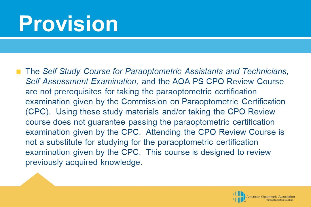 Certified Paraoptometric Review Course Cpo Ppt Download