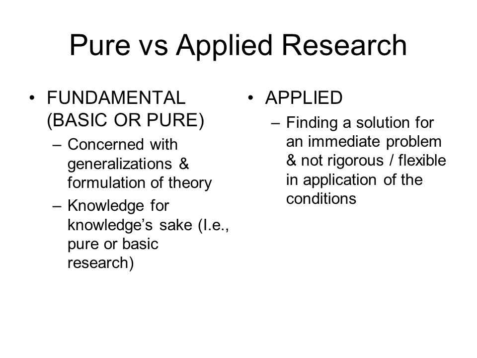 Pure vs Applied Research
