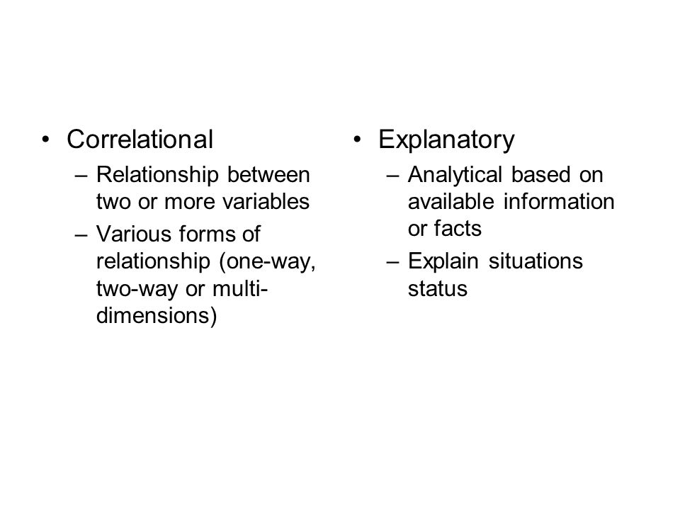 Correlational Explanatory Relationship between two or more variables