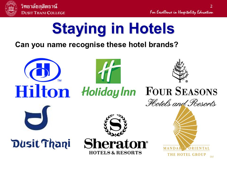 2 Staying In Hotels Can You Name Recognise These Hotel Brands