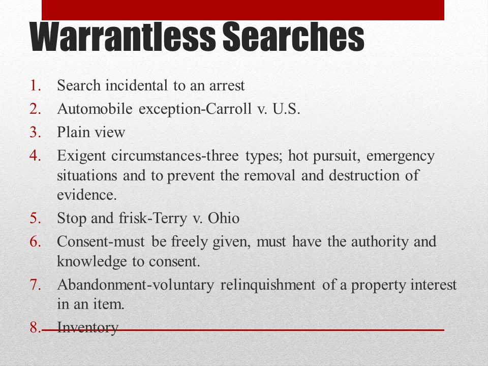 Warrantless Searches