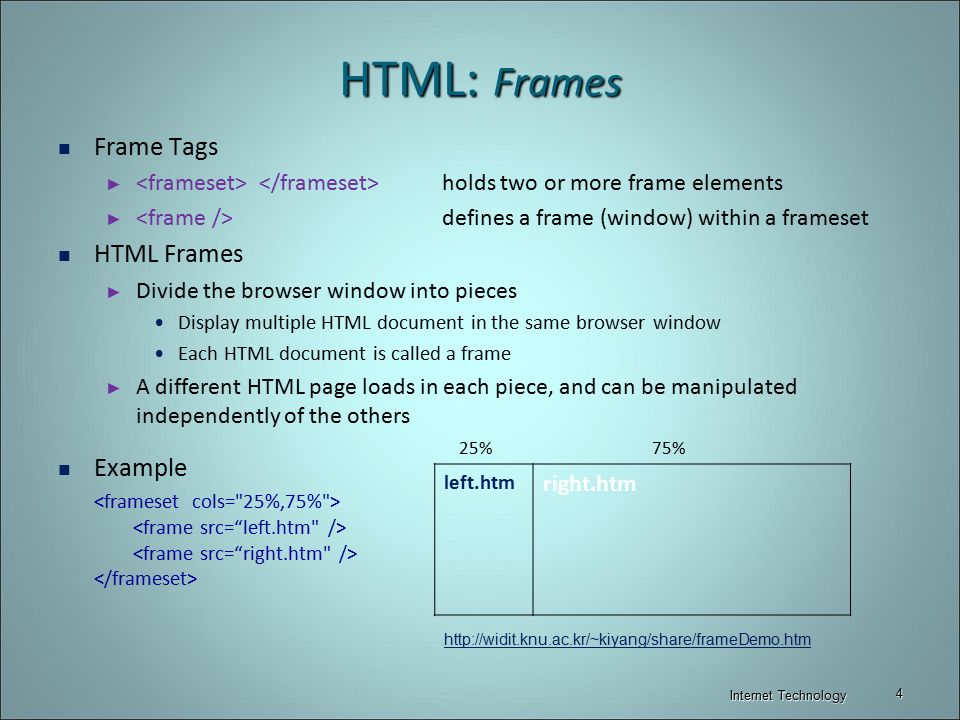 HTML: Tables & Frames Internet Technology. - ppt video online download