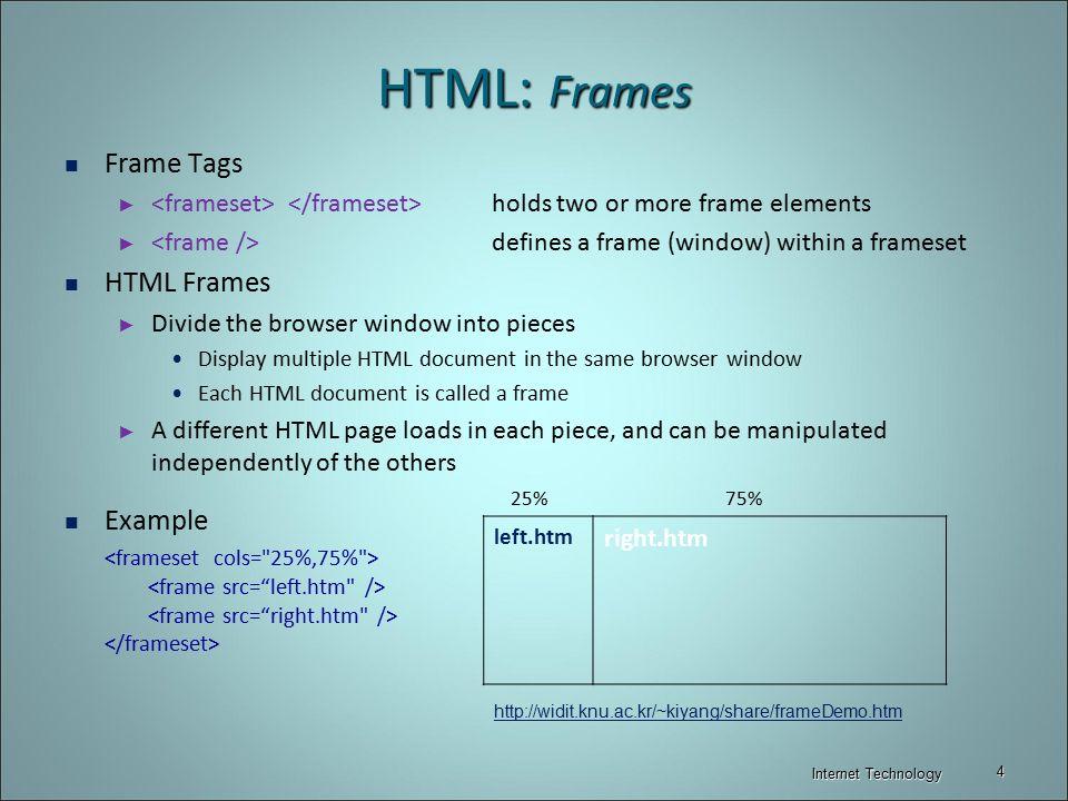 HTML: Tables & Frames Internet Technology. - ppt video online download