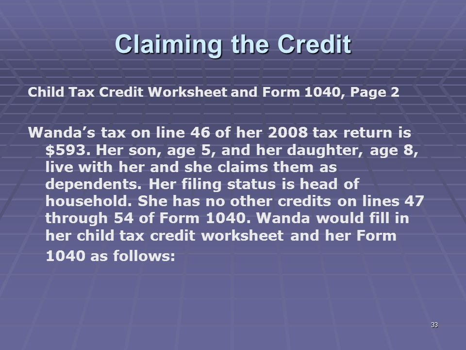 Liberty Tax Service Online Basic Ine Course Lesson 7 Ppt. Claiming The Credit Child Tax Worksheet And Form 1040 Page 2. Worksheet. 2011 Child Tax Credit Worksheet At Clickcart.co
