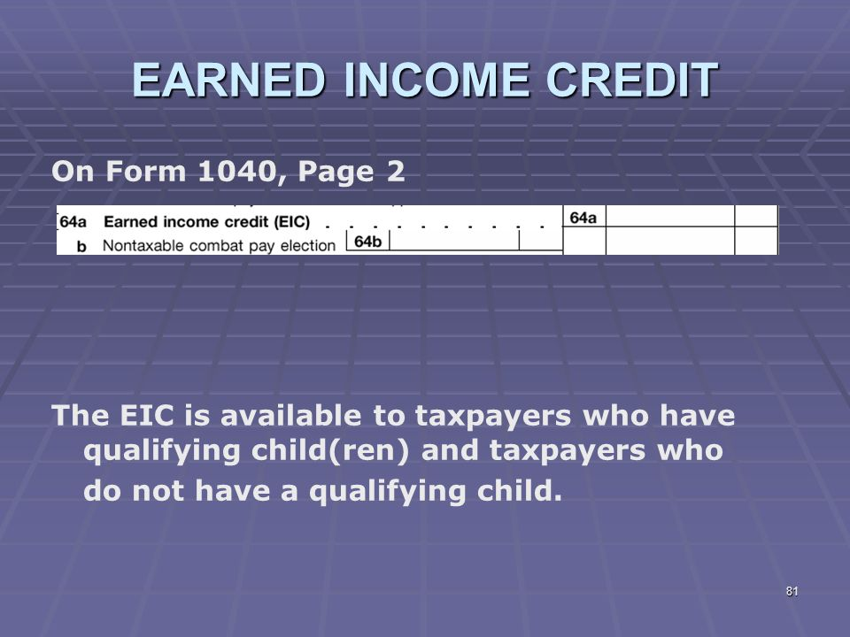 Liberty Tax Service Online Basic Ine Course Lesson 7 Ppt. Earned Ine Credit On Form 1040 Page 2. Worksheet. 1040 Eic Worksheet At Clickcart.co