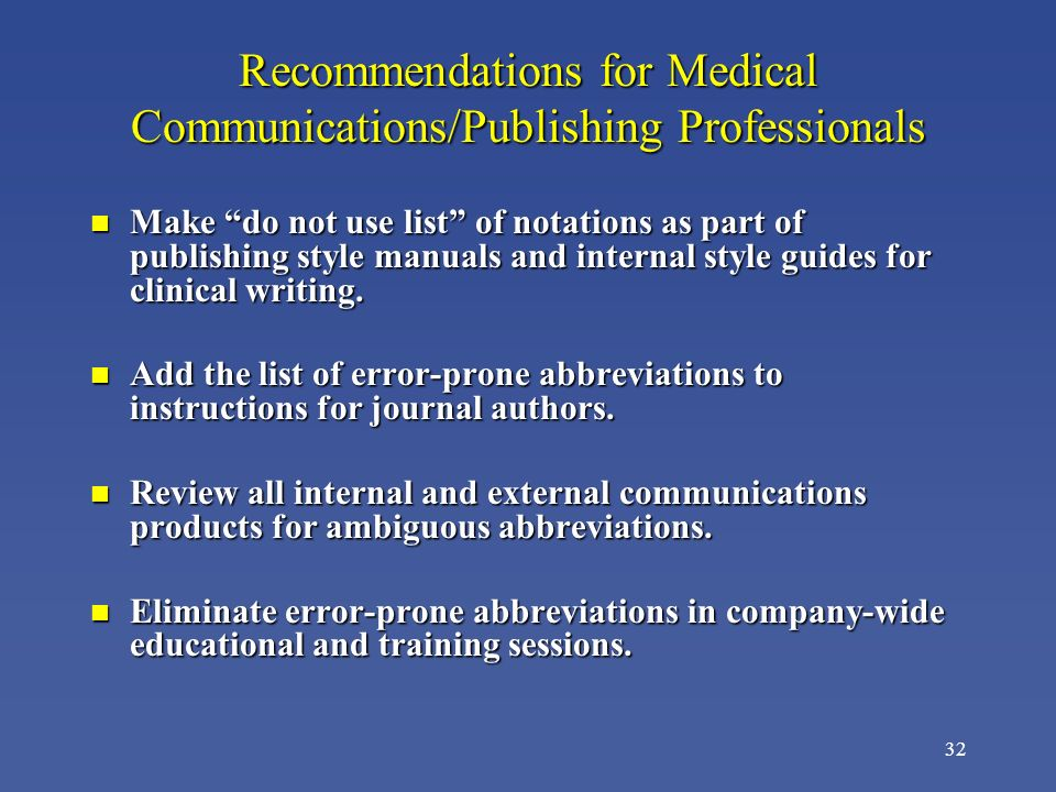 Recommendations for Medical Communications/Publishing Professionals