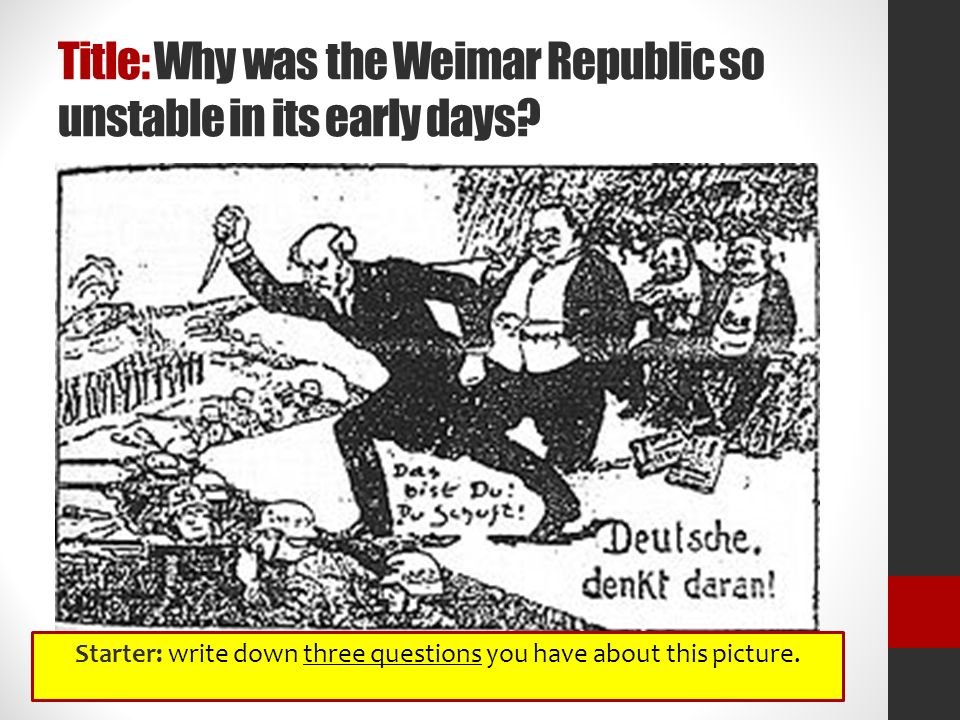 why did the weimar republic collapse essay In this essay, the reasons why the weimar republic collapsed will be examined and assessed to see if this was inevitable the collapse of the weimar republic was not inevitable it could have survived if hitler hadn't achieved seized the opportunity when he did.