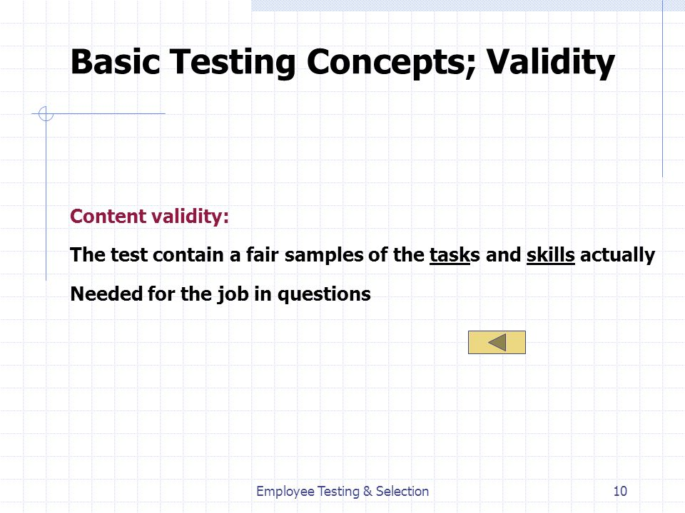 Basic Testing Concepts; Validity