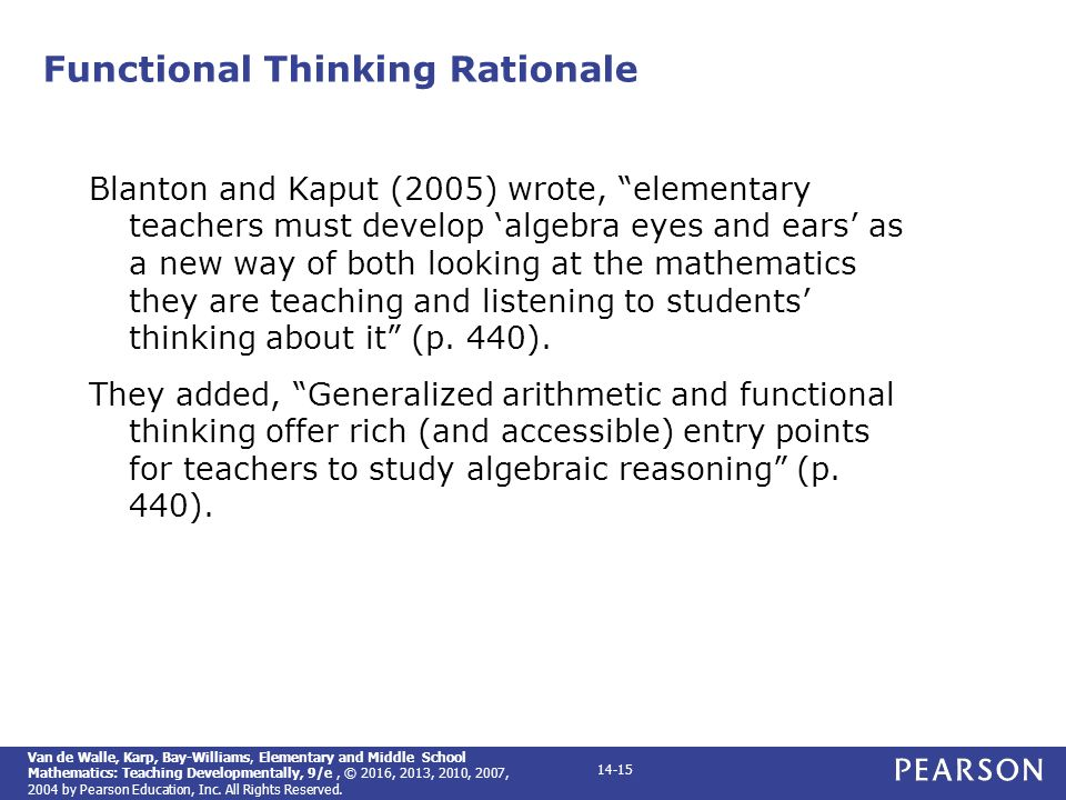 Elementary and middle school mathematics teaching developmentally 15 functional thinking rationale fandeluxe Image collections