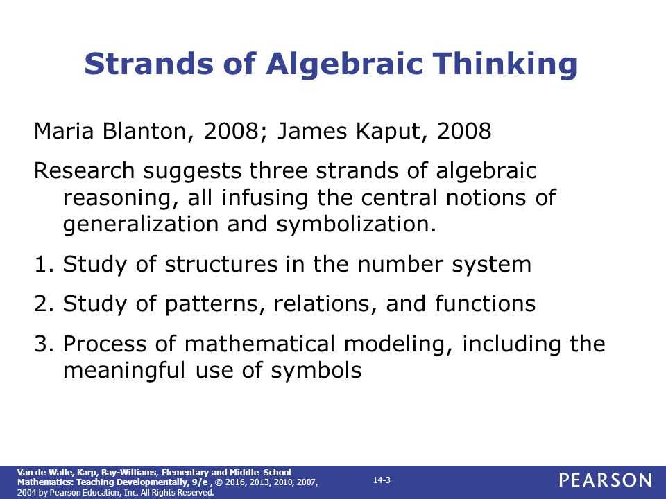 Elementary and middle school mathematics teaching developmentally 3 strands of algebraic thinking fandeluxe Image collections