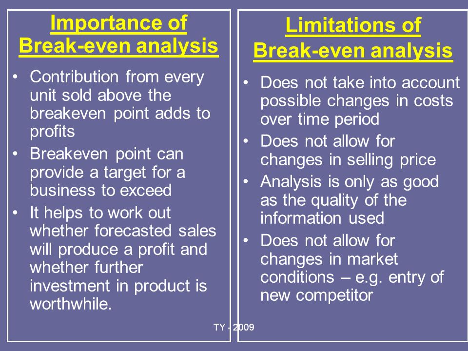 importance of break even analysis