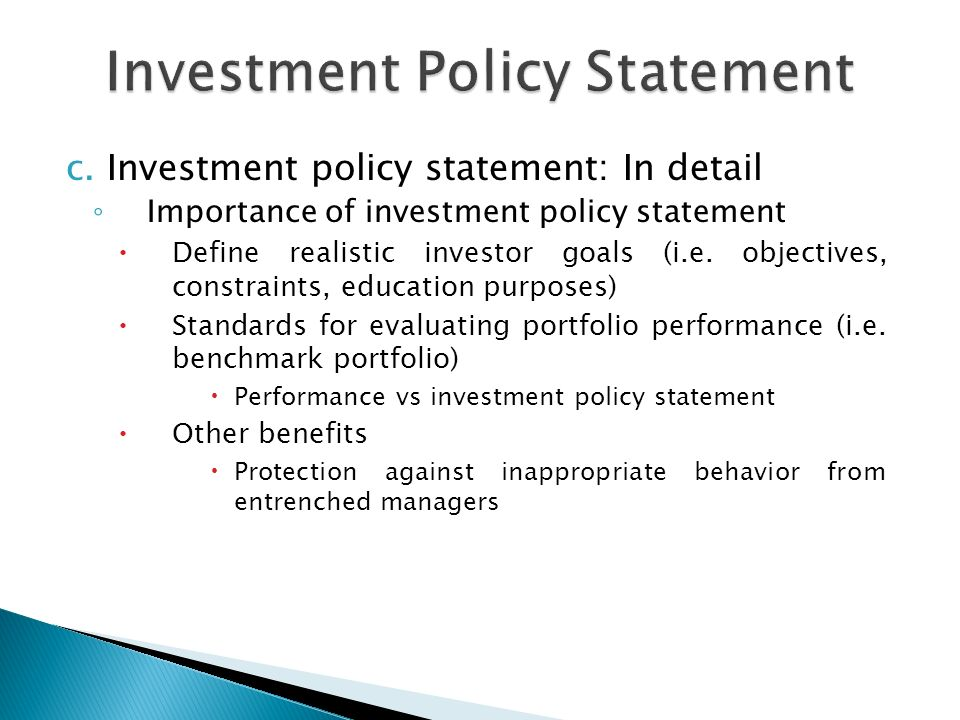 Investment Policy Statement - ppt video online download
