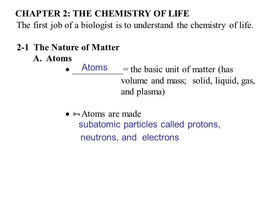 Chapter 2 THE CHEMISTRY OF LIFE Ppt Video Online Download