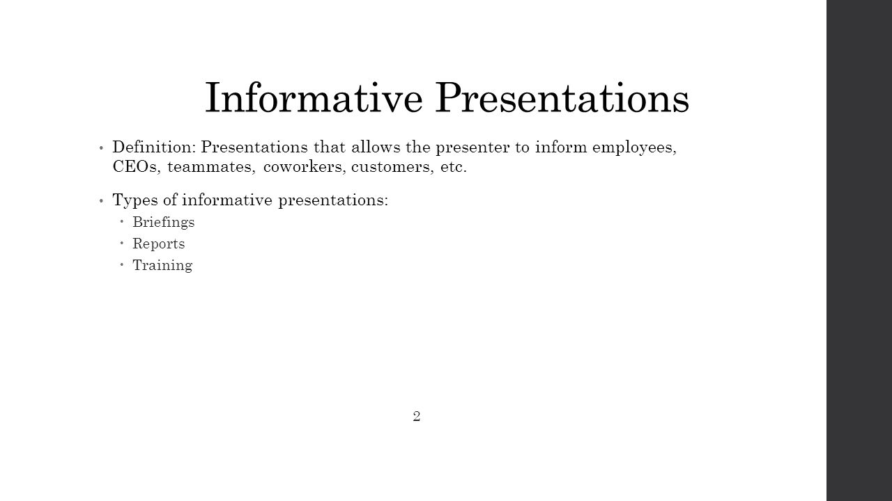 definition of informative speeches