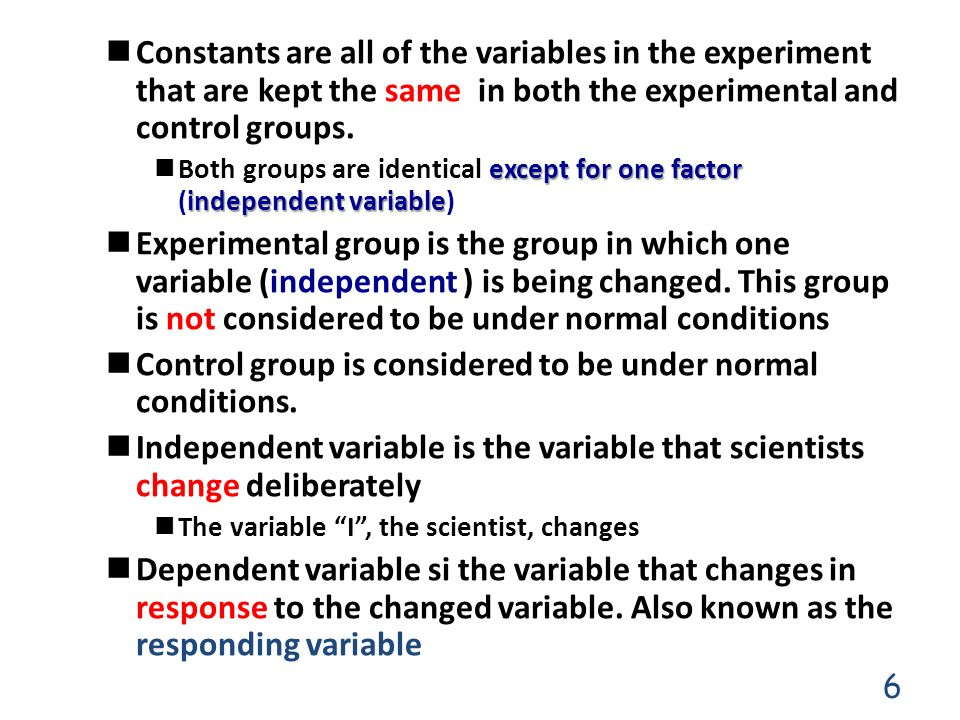 Control group is considered to be under normal conditions.