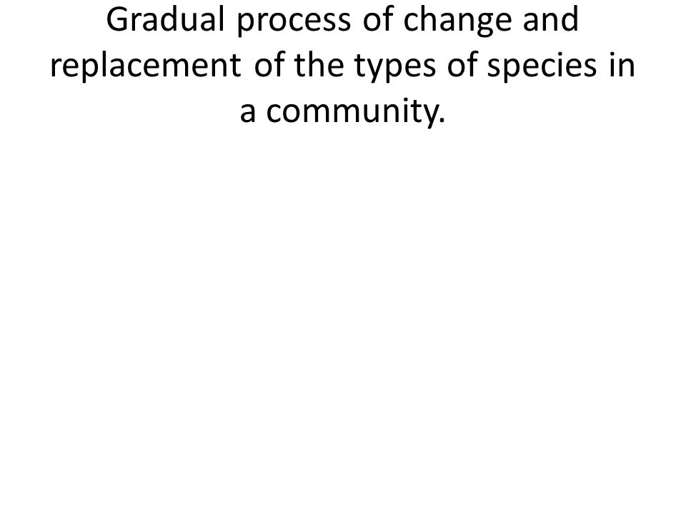 Gradual process of change and replacement of the types of species in a community.