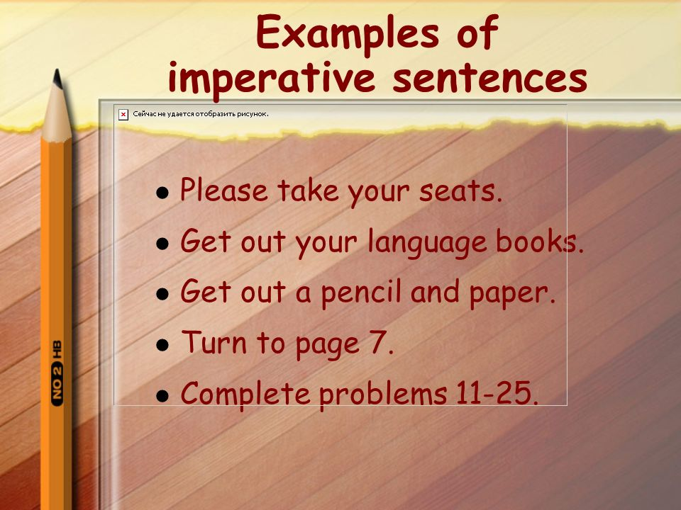 what is imperative sentence and give example