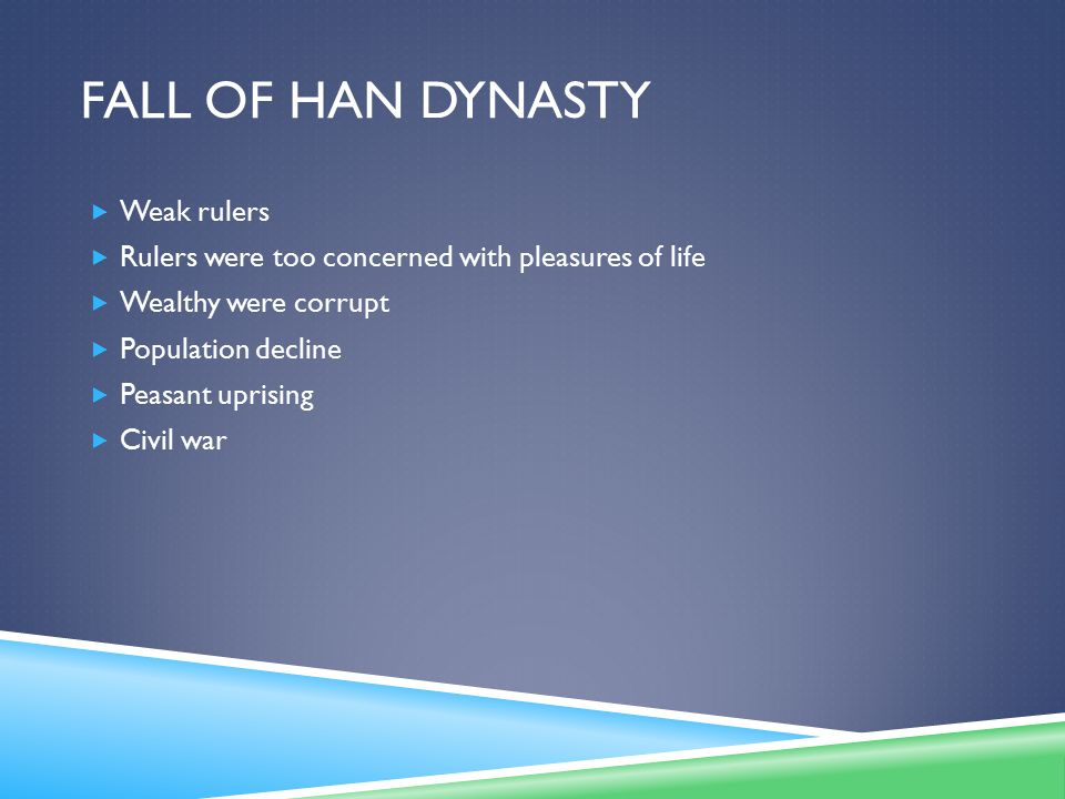 Fall of Han Dynasty Weak rulers