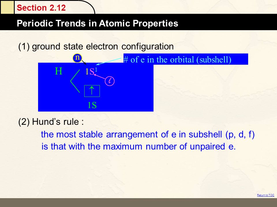 (1) ground state electron configuration
