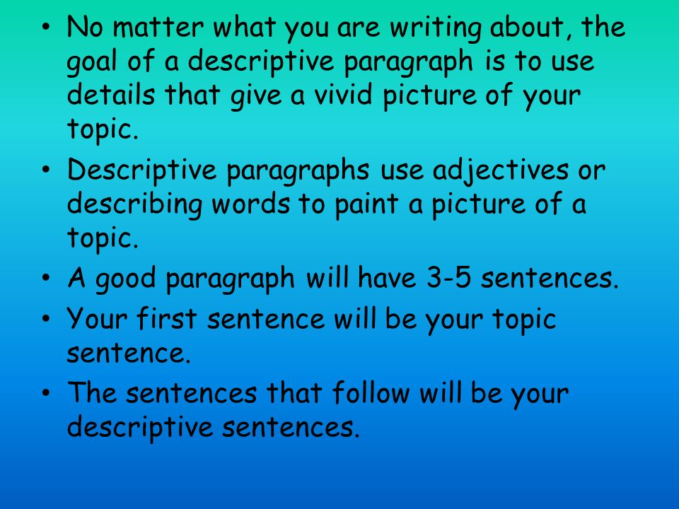 descriptive essay topic lists A descriptive essay is one of the easiest forms of writing it doesn't need much research and can be based on your own life and experiences this penlighten post will help you out by giving a list of some of the good descriptive essay topics.