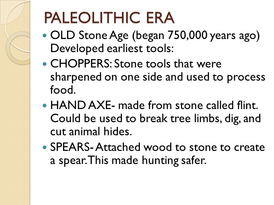 paleolithic era and neolithic era