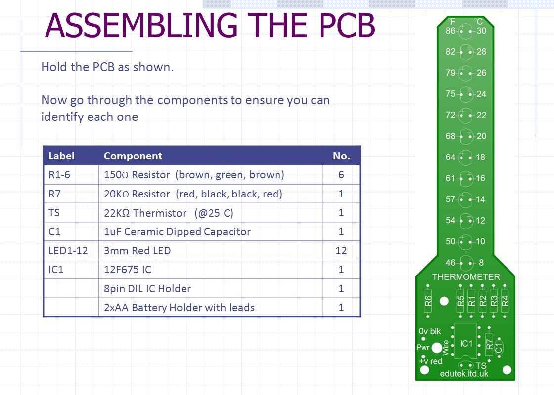 THERMOMETER PROJECT PCB ASSEMBLY INSTRUCTIONS  - ppt download
