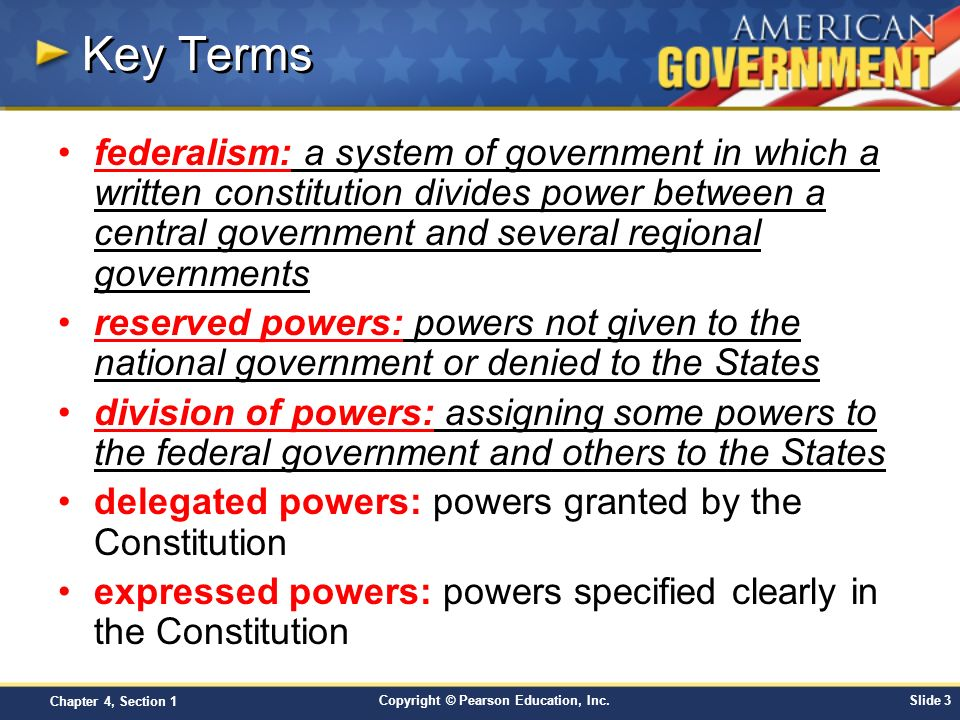 Chapter 4: Federalism Section 1 - ppt video online download