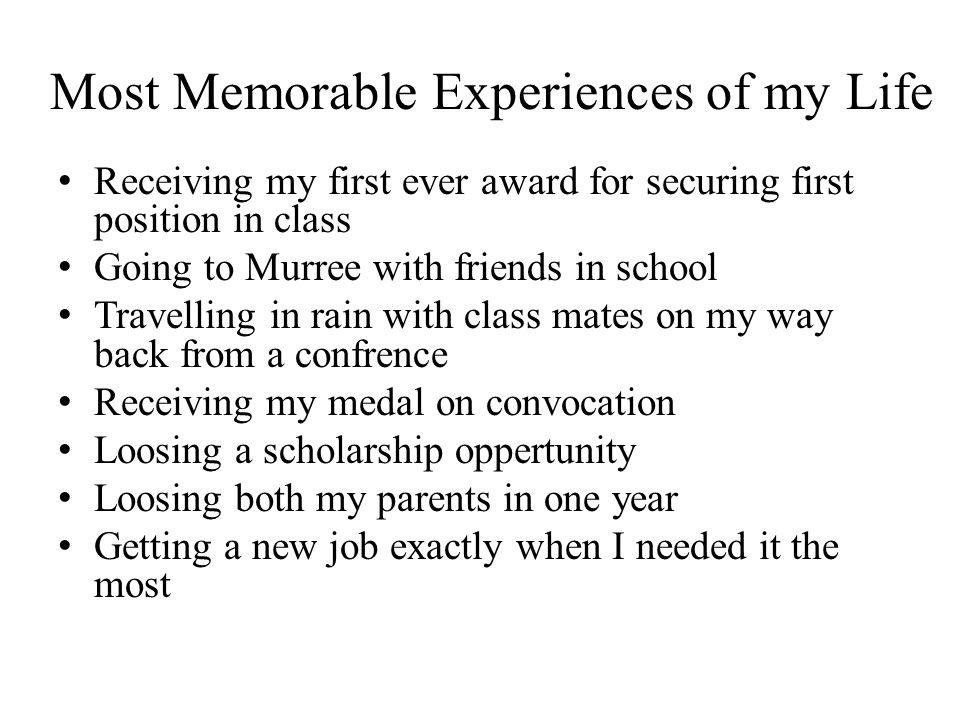 memorable experience paragraph