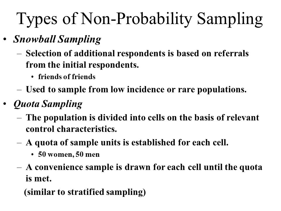 Non probability sampling methods examples.