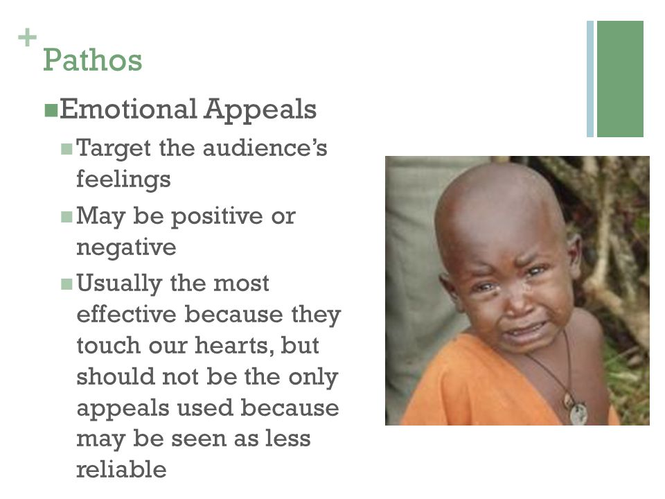 Pathos Emotional Appeals Target the audience's feelings