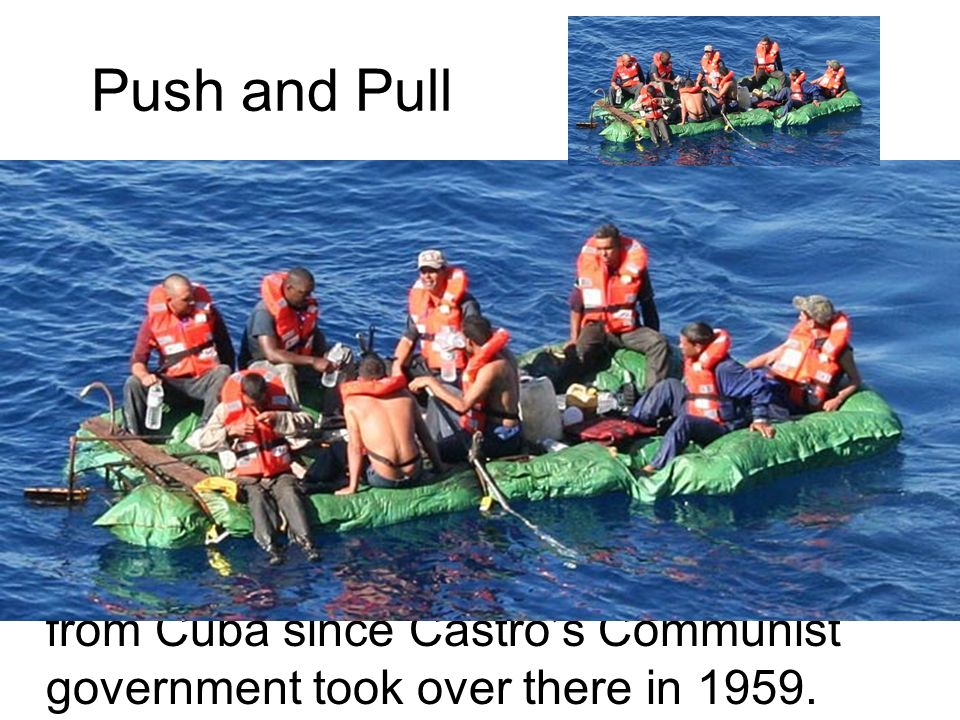 Push and Pull Demographers use the push-pull theory to explain immigration.