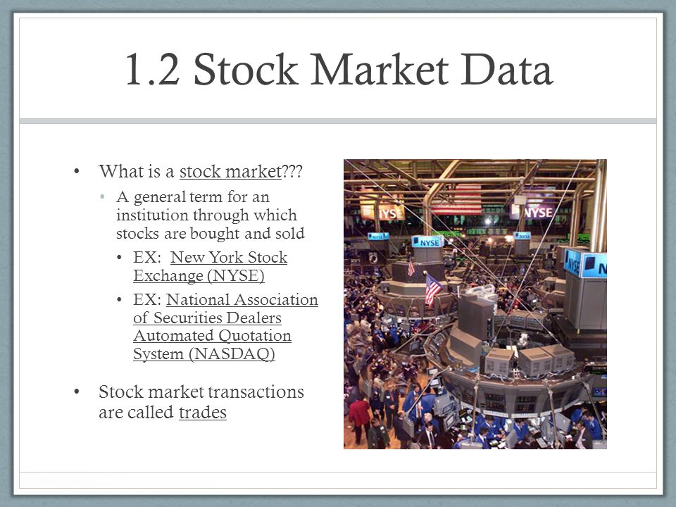 Chapter 1: The Stock Market - ppt video online download